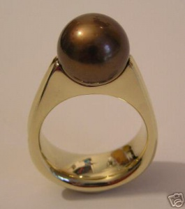 Ring 585 Gold Tahitiperle SCHOKOPERLE 11,5 mm